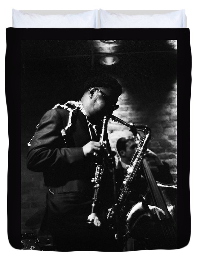 Rahshand Roland Kirk Duvet Cover featuring the photograph Rahsaan Roland Kirk At Penthouse Seattle 1967 by Dave Coleman