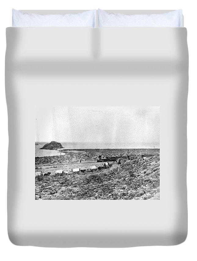 19th Century Duvet Cover featuring the photograph Railroad And Wagon Train by Granger