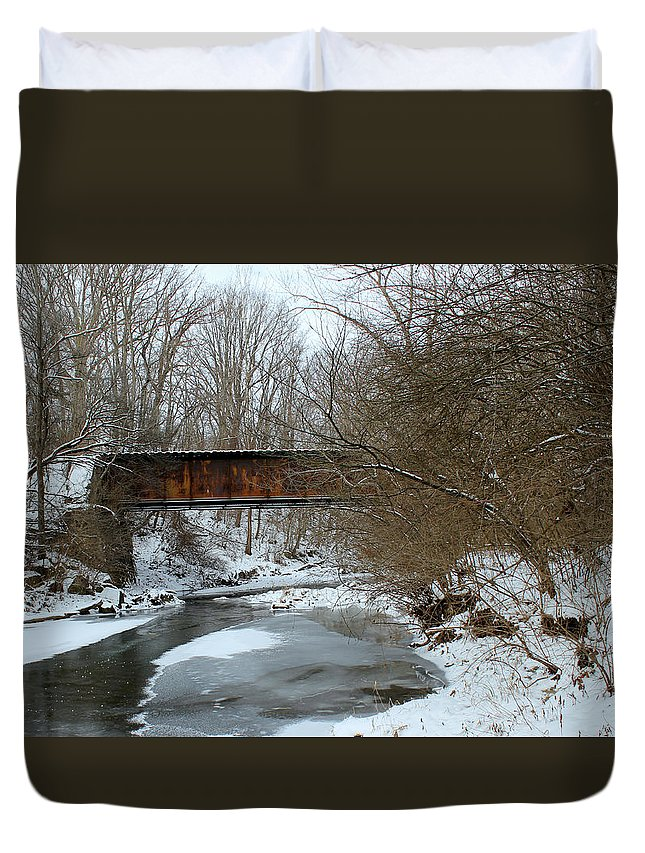Railroad Duvet Cover featuring the photograph Railroad Bridge In Winter by Harold Hopkins