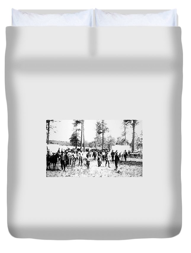 1880 Duvet Cover featuring the photograph Railroad Camp, 1880s by Granger