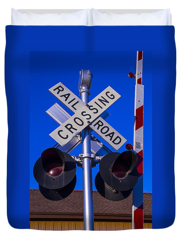 Railroad Duvet Cover featuring the photograph Railroad Crossing by Garry Gay