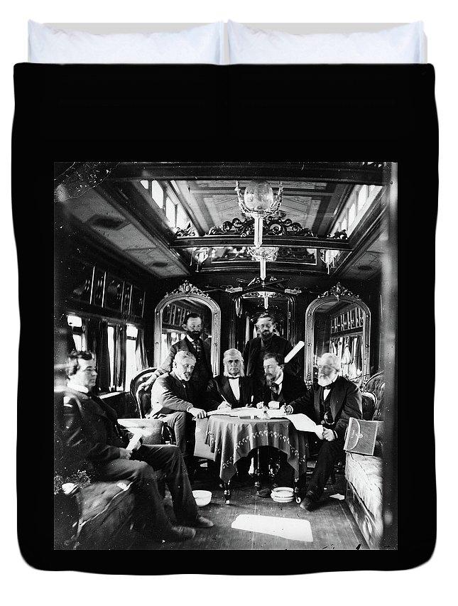 1868 Duvet Cover featuring the photograph Railroad Directors, C1868 by Granger