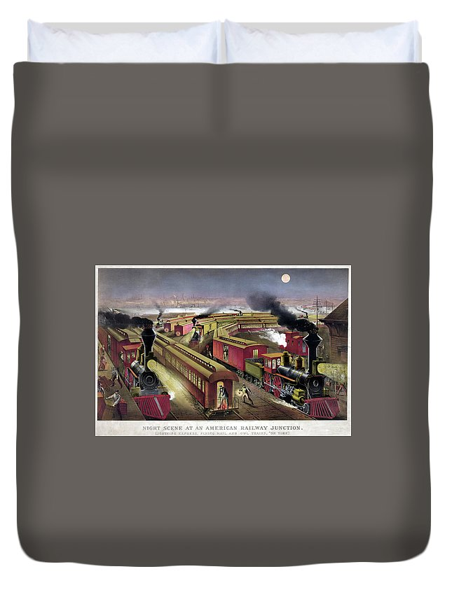 1876 Duvet Cover featuring the drawing Railroad Junction, C1876 by Granger