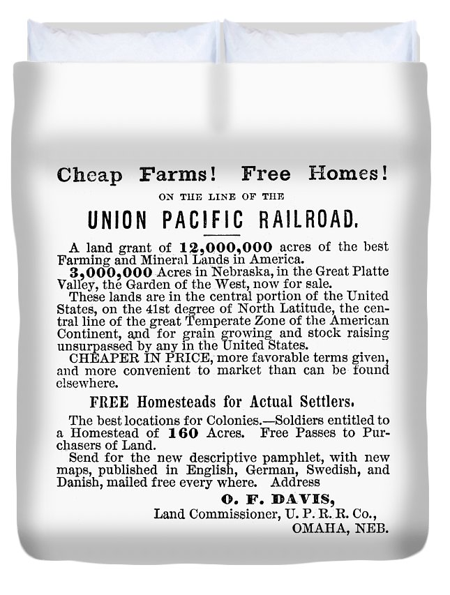 1872 Duvet Cover featuring the painting Railroad Land Sale, 1872 by Granger