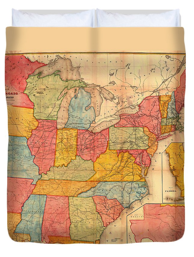Map Duvet Cover featuring the drawing Railroad Map Of The United States 1852 by Mountain Dreams