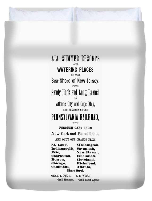 1884 Duvet Cover featuring the painting Railroad Resorts, 1884 by Granger