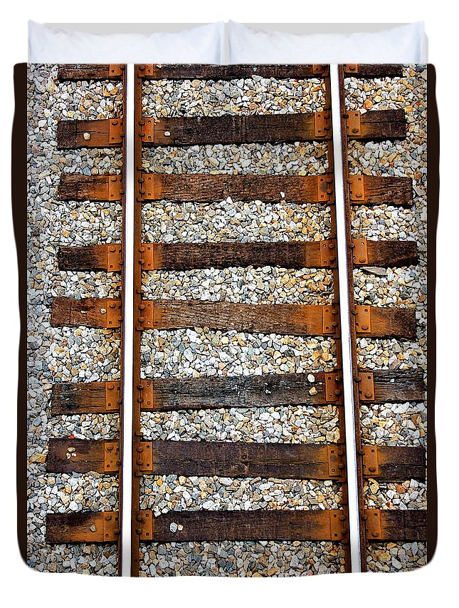 Reid Callaway Train And Track Duvet Cover featuring the photograph Railroad Track With Gravel 2 by Reid Callaway