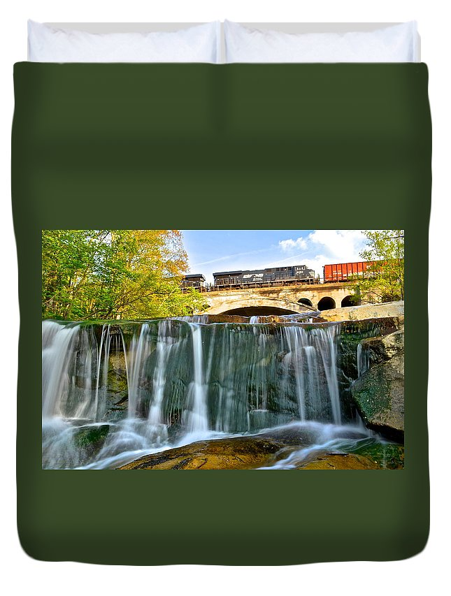 Railroad Duvet Cover featuring the photograph Railroad Waterfall by Frozen in Time Fine Art Photography