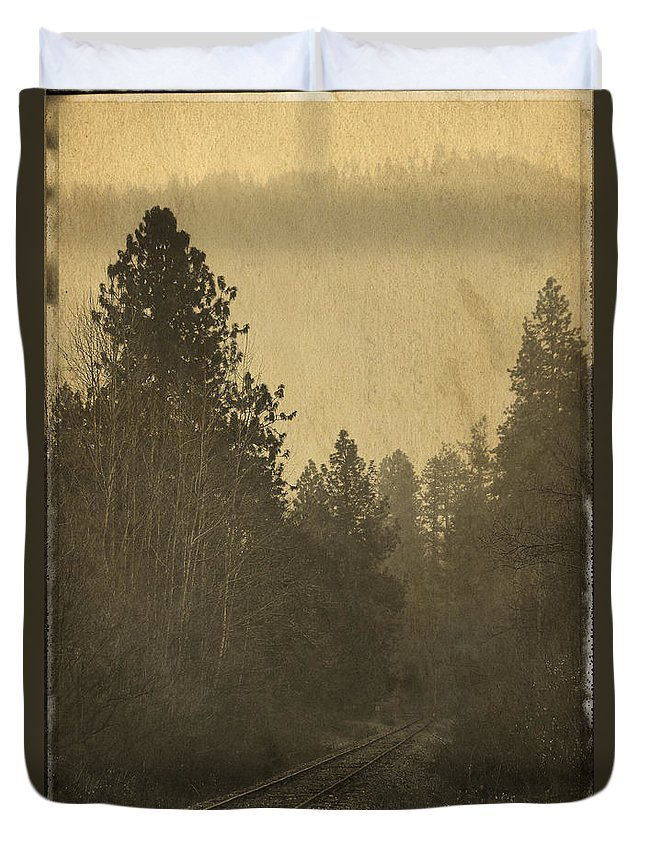 Special Effect Duvet Cover featuring the photograph Rails In The Rogue Valley - Vintage Effect by Mick Anderson