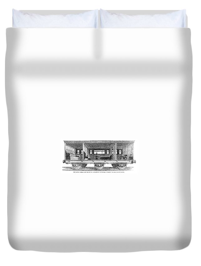 1864 Duvet Cover featuring the painting Railway Carriage, 1864 by Granger
