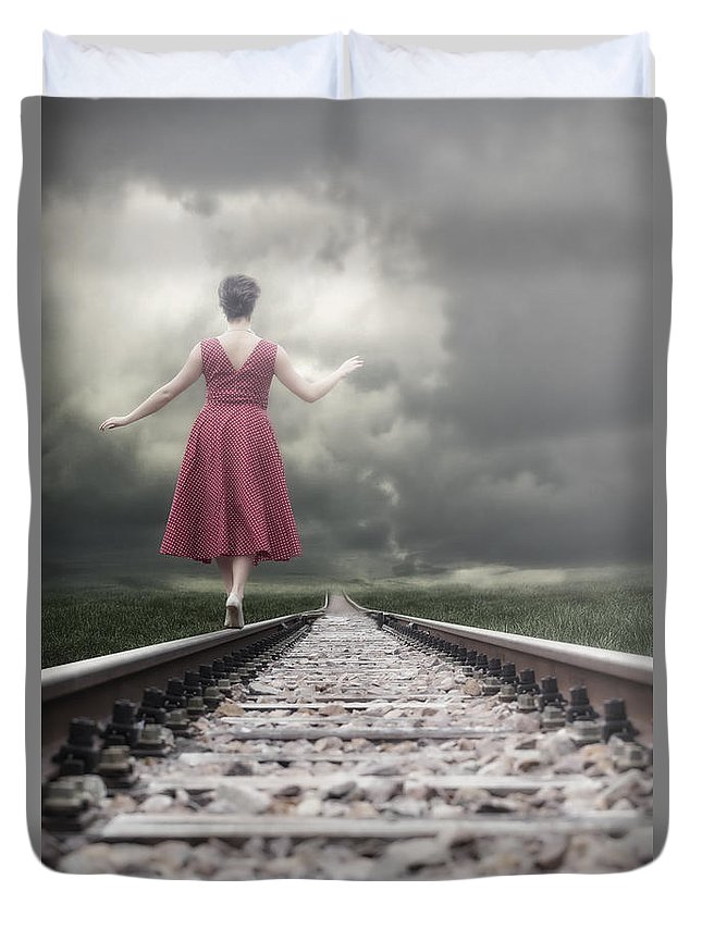Woman Duvet Cover featuring the photograph Railway Tracks by Joana Kruse