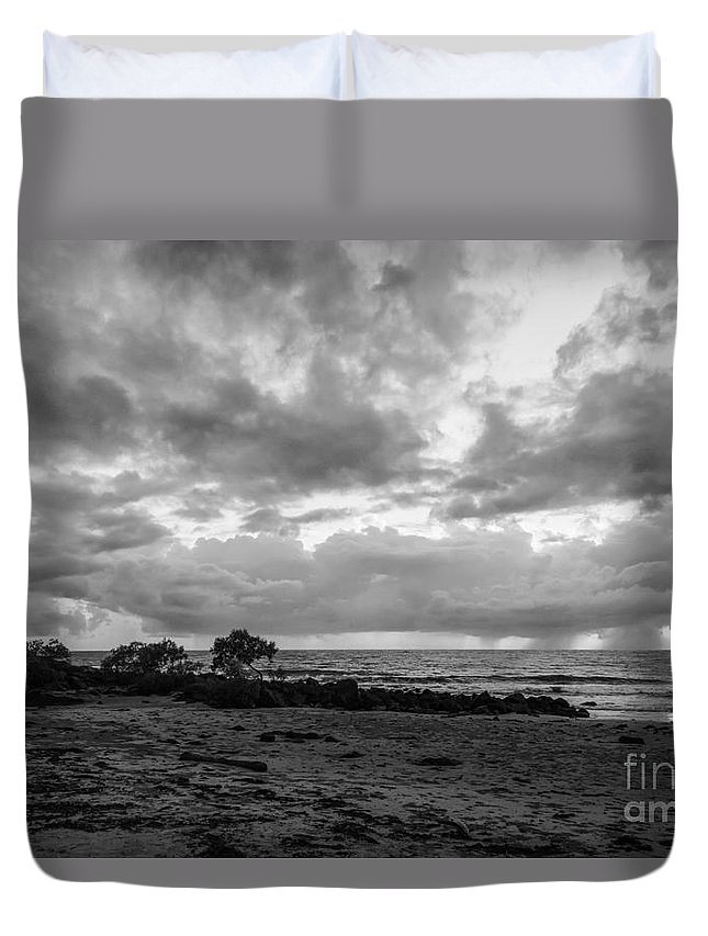 Port Douglas Australia Water Ocean Oceans Coral Sea Seas Sand Sands Reflection Reflections Sunrise Sunrises Dawn Storm Cloud Rain Storms Sun Waterscape Waterscapes Wave Waves Black And White Tree Trees Landscape Landscapes Rock Rocks Duvet Cover featuring the photograph Rain Clouds At Sea 2 by Bob Phillips