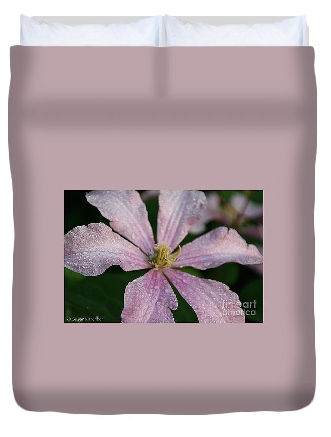 Flower Duvet Cover featuring the photograph Rain Drops From Heaven by Susan Herber