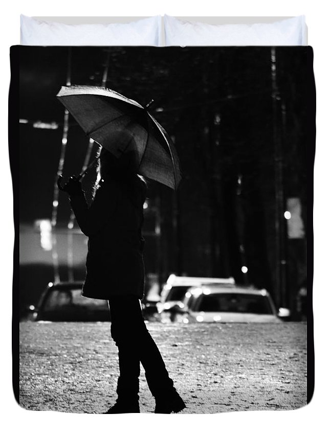 Street Photography Duvet Cover featuring the photograph Rain In Days by The Artist Project
