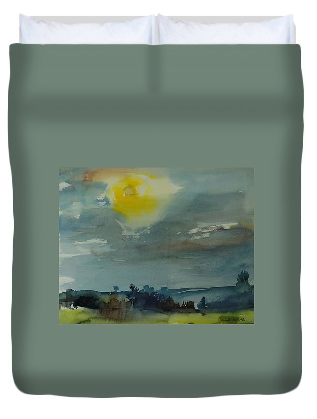 Rural Duvet Cover featuring the photograph Rain In The Air, 1981 Wc On Paper by Brenda Brin Booker