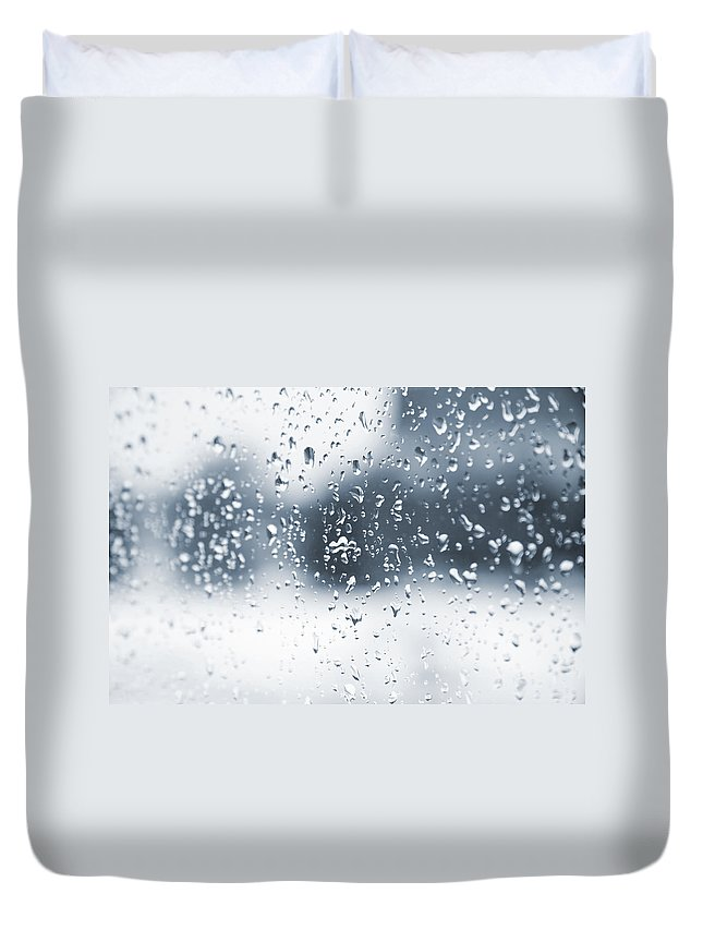 Drops Duvet Cover featuring the photograph Rain In Winter by Alexey Stiop