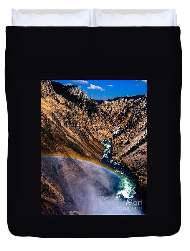 Rainbow Duvet Cover featuring the photograph Rainbow At The Grand Canyon Yellowstone National Park by Edward Fielding