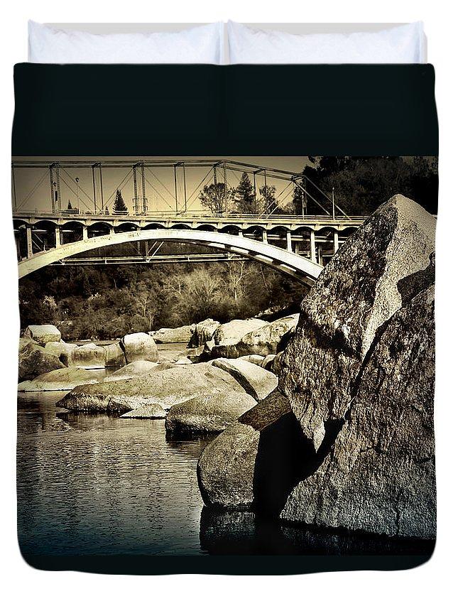 Folsom Duvet Cover featuring the photograph Rainbow Bridge In Folsom Ca by Shawn McMillan