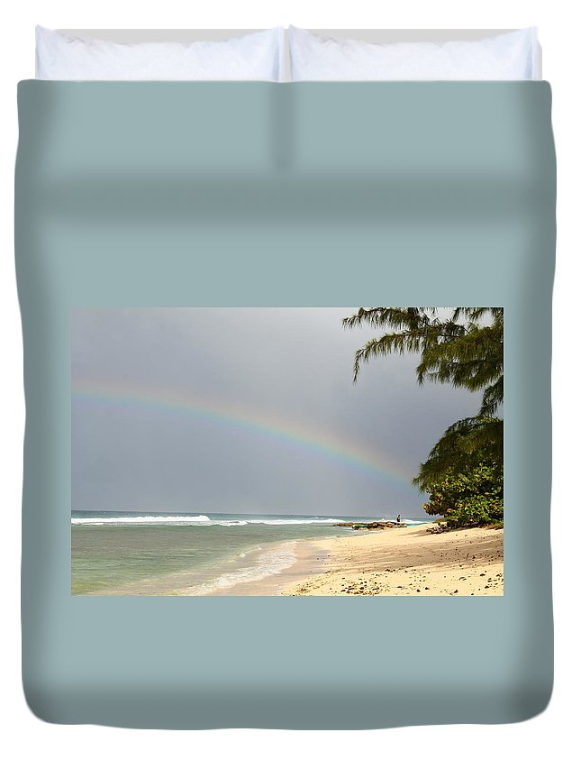 Rainbow Duvet Cover featuring the photograph Rainbow Bright by Catie Canetti