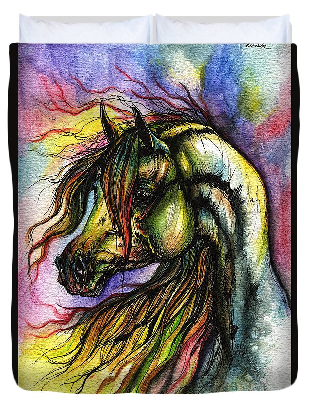 Horse Duvet Cover featuring the painting Rainbow Horse 2 by Angel Ciesniarska