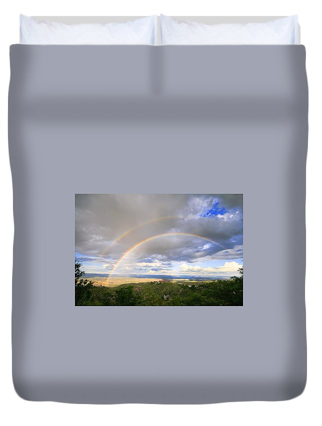 Rainbow Duvet Cover featuring the photograph Rainbow In Jerome by Alexey Stiop
