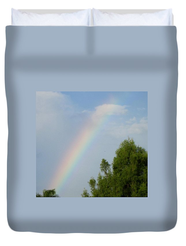 Rainbow Duvet Cover featuring the photograph Rainbow by Janet K Wilcox
