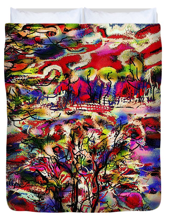 Landscape Duvet Cover featuring the mixed media Rainbow Landscape by Natalie Holland