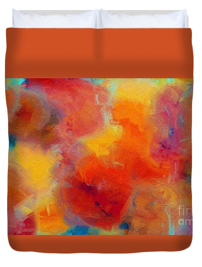 Abstract Duvet Cover featuring the digital art Rainbow Passion - Abstract - Digital Painting by Andee Design