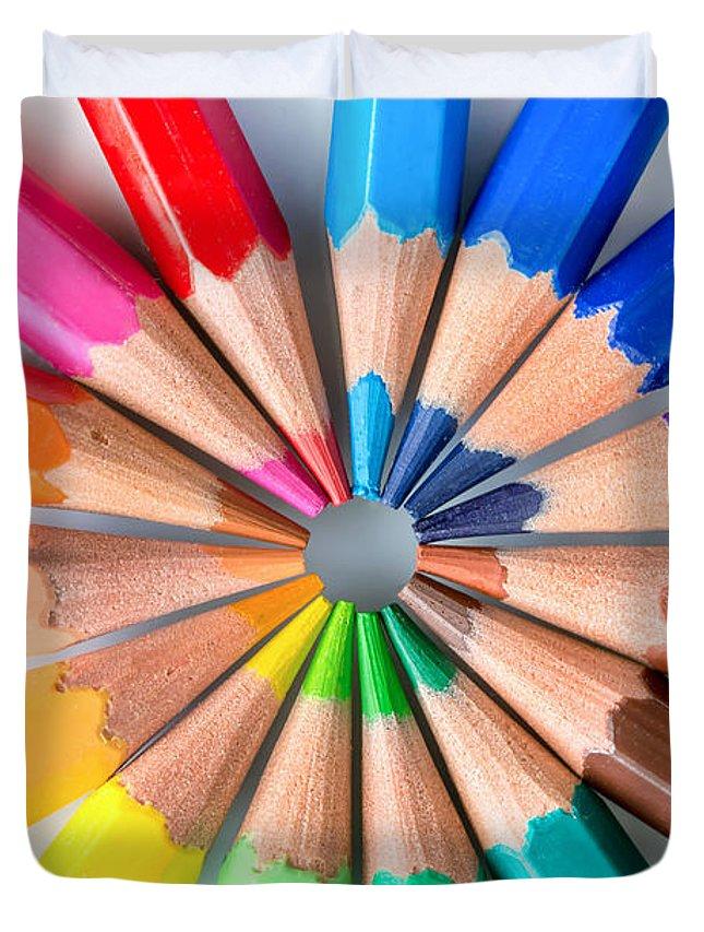 Pencils Duvet Cover featuring the photograph Rainbow pencils by Delphimages Photo Creations