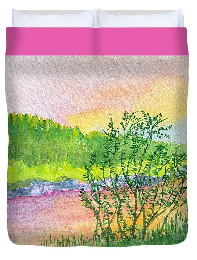 Watercolor Painting Duvet Cover featuring the painting Rainbow River by Walt Brodis