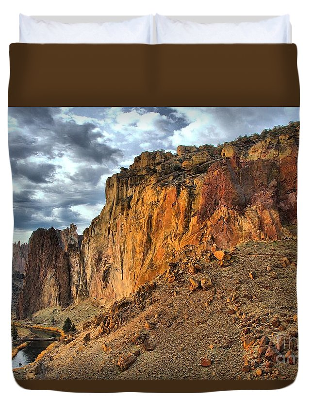 Smith Rock Duvet Cover featuring the photograph Rainbow Rocks And A River by Adam Jewell