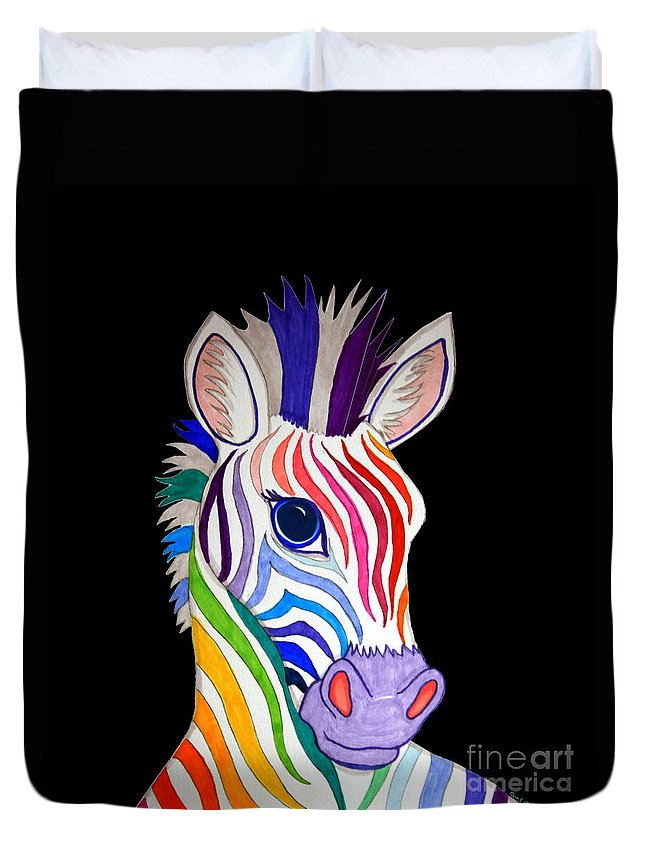 Zebra Duvet Cover featuring the drawing Rainbow Striped Zebra 2 by Nick Gustafson