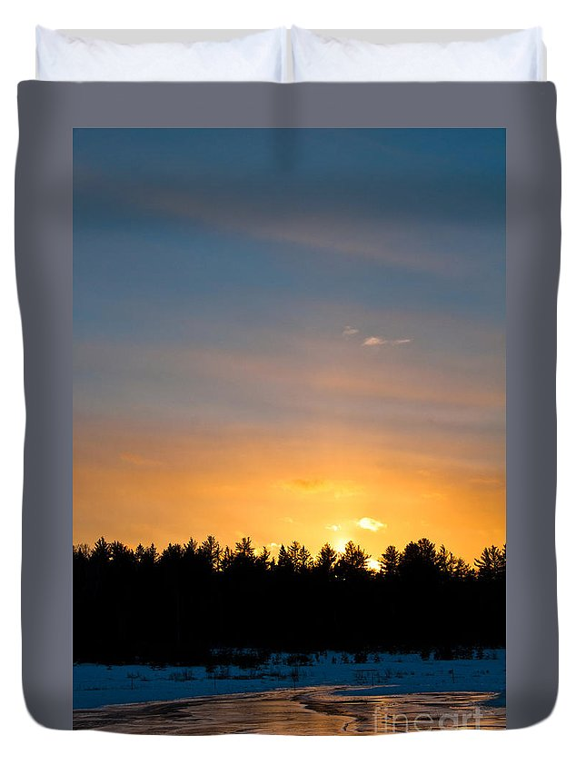 Sunset Sky Duvet Cover featuring the photograph Rainbow Sunset by Cheryl Baxter