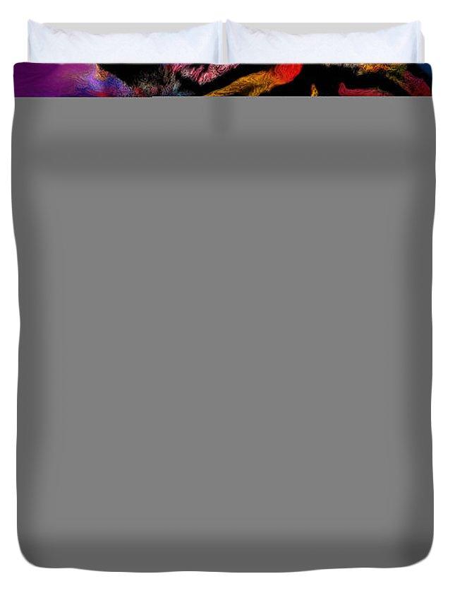 Rainbow Duvet Cover featuring the digital art Rainbow Tiger Variant by Alixandra Mullins