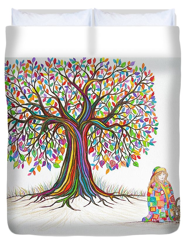 Tree Art Duvet Cover featuring the drawing Rainbow Tree Dreams by Nick Gustafson