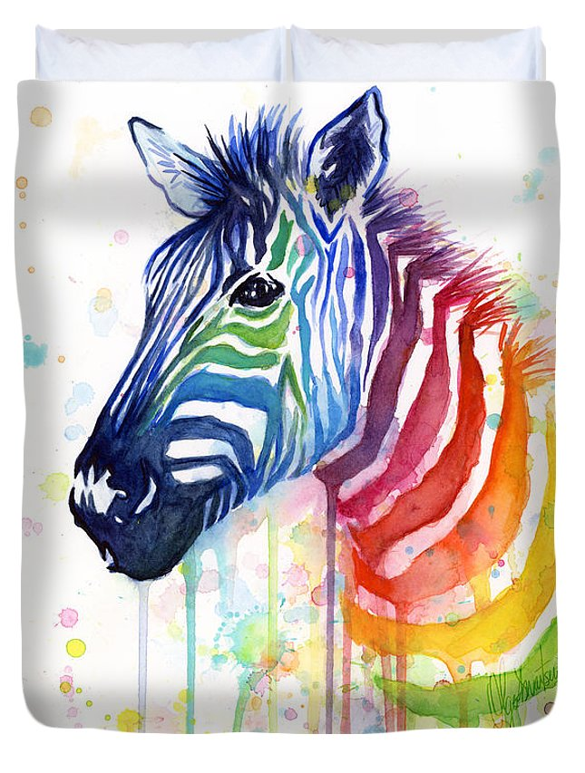 Rainbow Duvet Cover featuring the painting Rainbow Zebra - Ode To Fruit Stripes by Olga Shvartsur