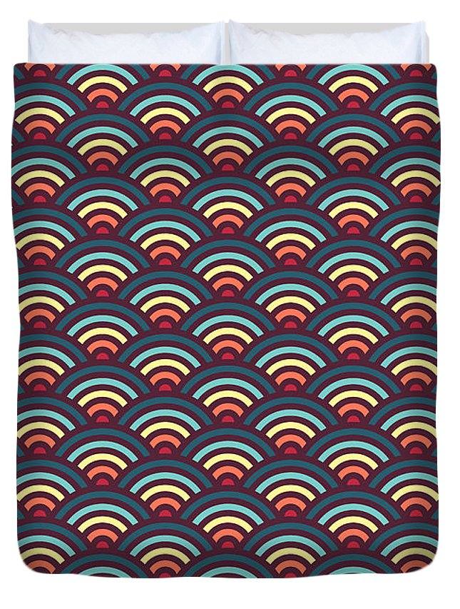 Rainbow Duvet Cover featuring the digital art Rainbowaves Pattern Dark by Freshinkstain