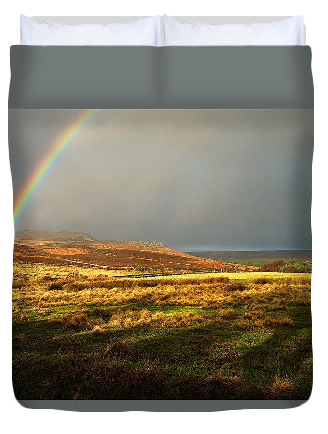 Rainbow Duvet Cover featuring the photograph Rainbows End by Darren Galpin