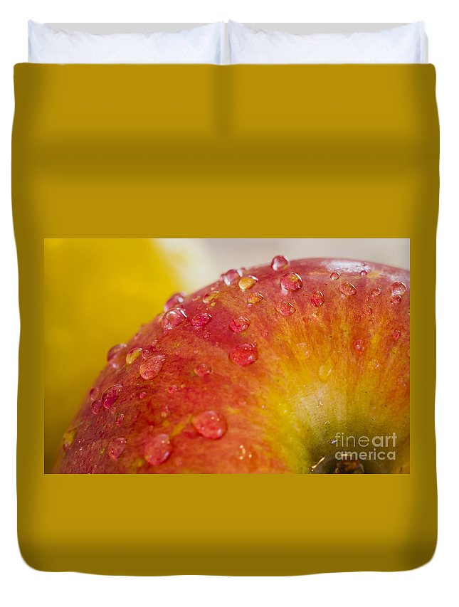 Macro Duvet Cover featuring the photograph Raindrops On An Apple by Warrena J Barnerd