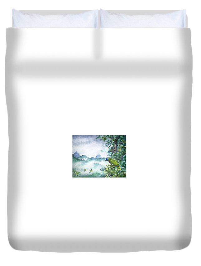 Chris Cox Duvet Cover featuring the painting Rainforest Realm - St. Lucia Parrots by Christopher Cox