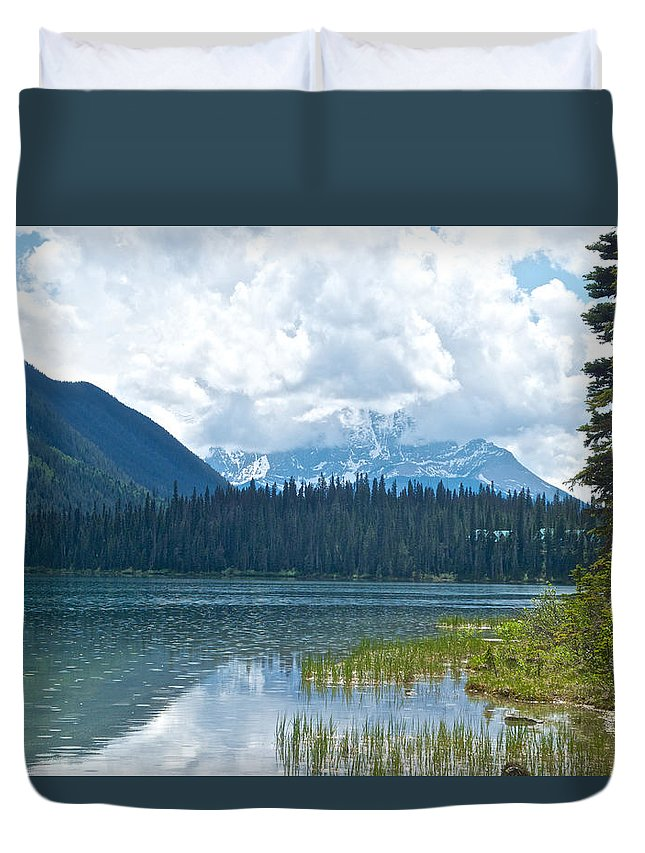 Raining On Emerald Lake From Trail In Yoho Np Duvet Cover featuring the photograph Raining On Emerald Lake In Yoho National Park-british Columbia-canada by Ruth Hager