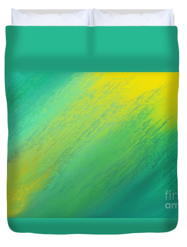 Abstract Duvet Cover featuring the digital art Raining Sunshine - Meteorologist - Meteorology by Andee Design