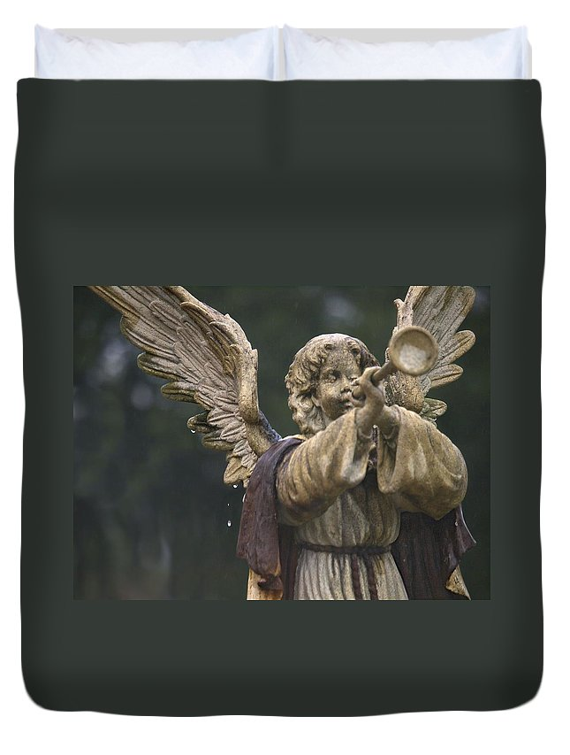Angel Duvet Cover featuring the photograph Raining Tears by Laura Ragland