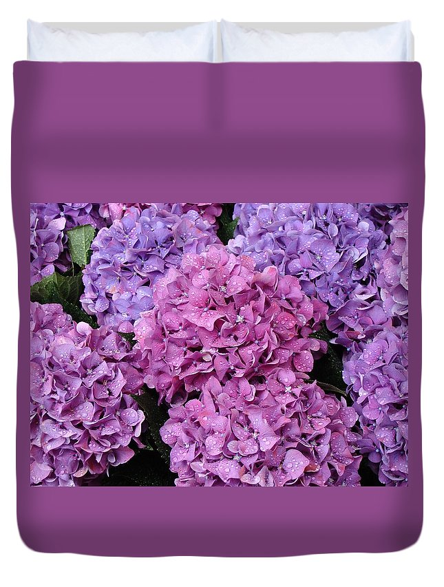 Flowers Duvet Cover featuring the photograph Rainy Day Flowers by Ira Shander