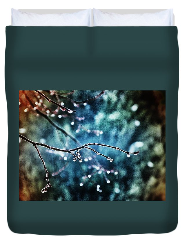 Rain Duvet Cover featuring the photograph Rainy Day by Marianna Mills
