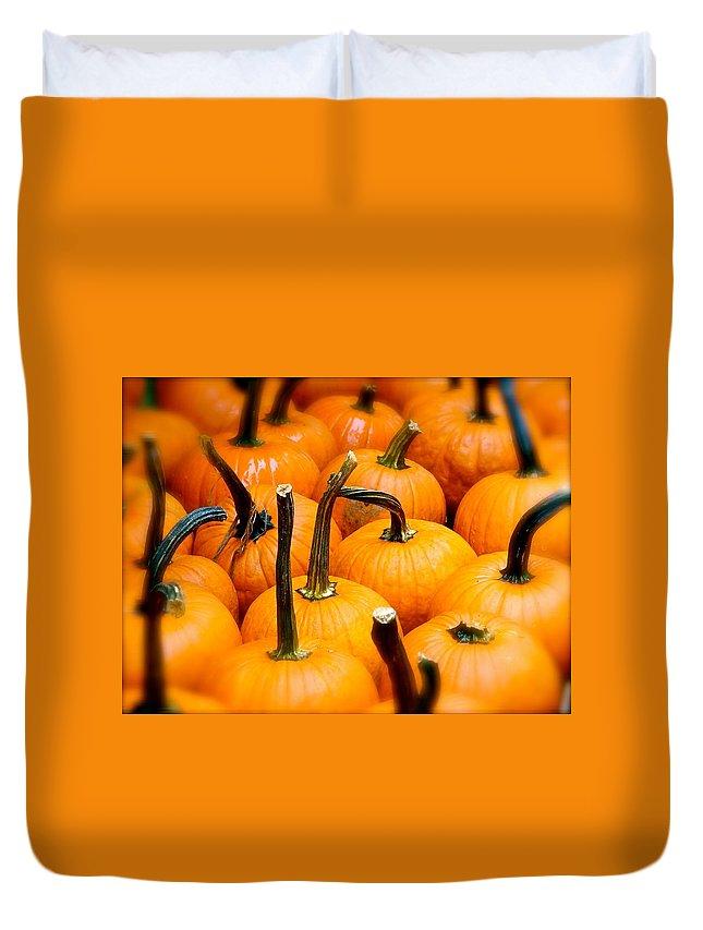 Pumpkins Duvet Cover featuring the photograph Rainy Day Pumpkins by Ira Shander
