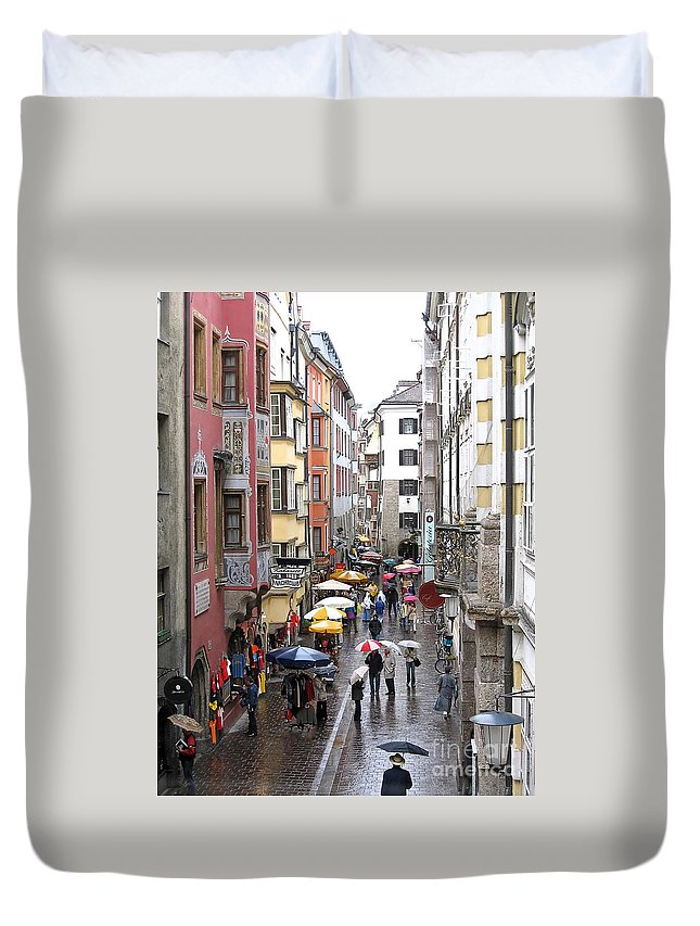 Innsbruck Duvet Cover featuring the photograph Rainy Day Shopping by Ann Horn