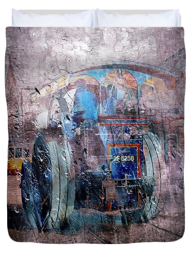 Traction Duvet Cover featuring the digital art Rainy Day Traction Engine by John Lynch