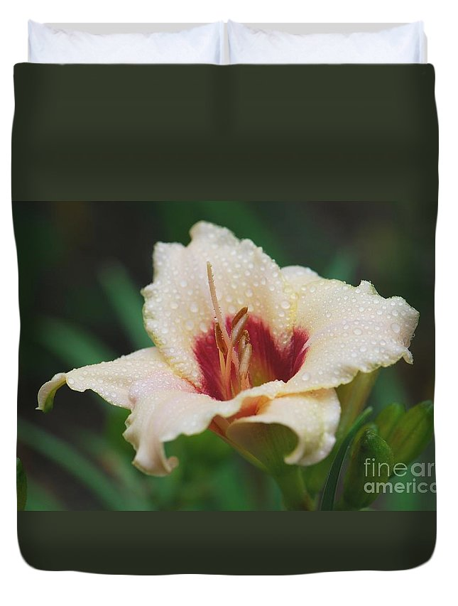 Flower Duvet Cover featuring the photograph Rainy Daylily by Amy Porter