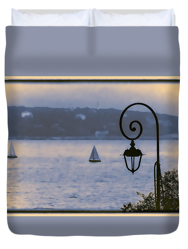 Blue Duvet Cover featuring the photograph Rainy Sail by Maria Coulson